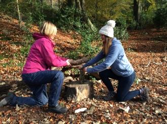 Splitting wood with a billhook